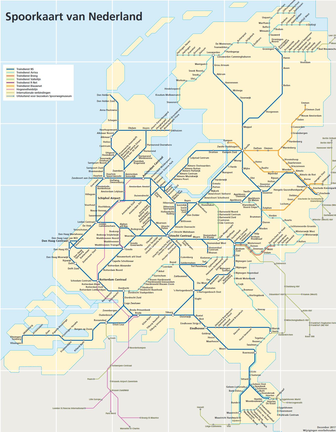 Spoorkaart van Nederland
