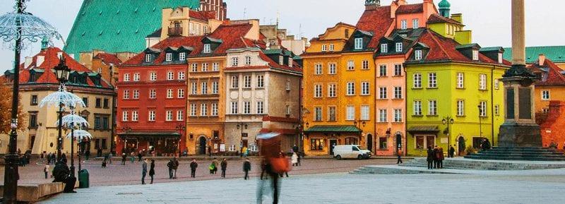 Trein naar Warschau in Polen